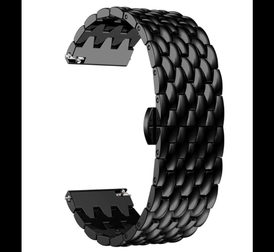 Strap-it® Garmin Vivoactive 3 stalen draak band (zwart)