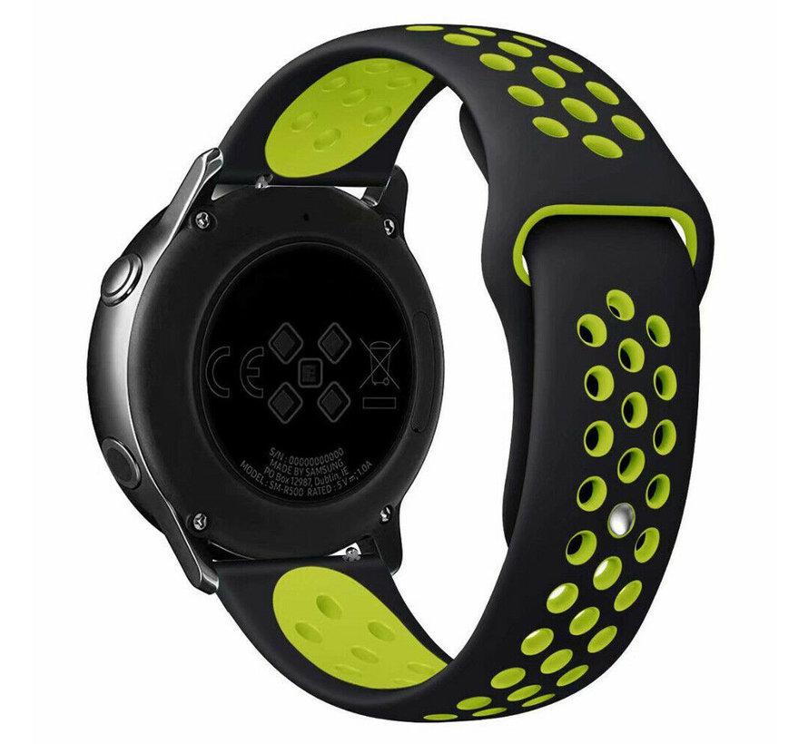 Strap-it® Rubber horlogeband 20mm sport universeel (zwart/geel)