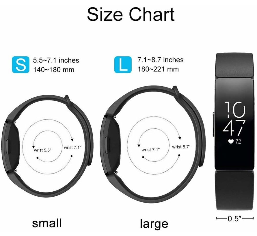 Strap-it® Fitbit Inspire 2 silicone band (zwart)
