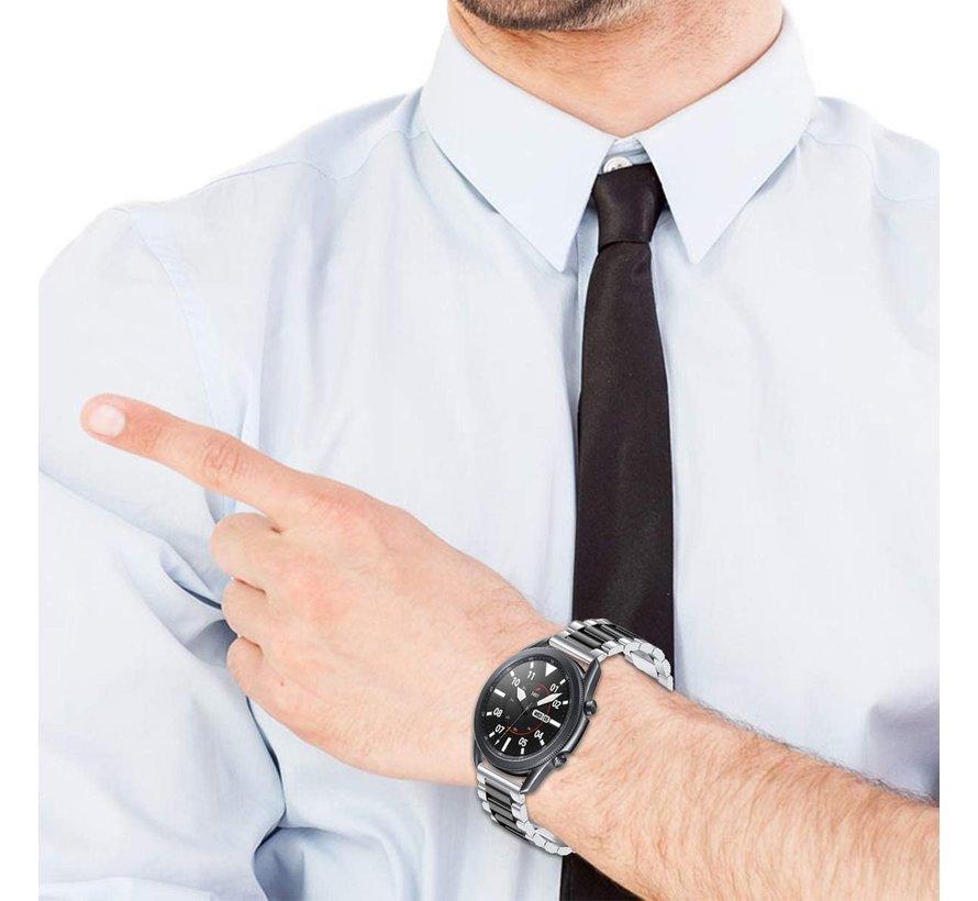 Strap-it® Samsung Galaxy Watch 3 stalen band 45mm (zilver/zwart)