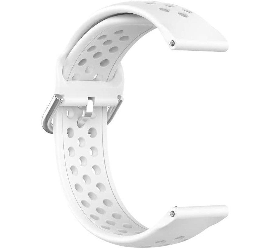 Strap-it® Samsung Galaxy Watch 3 - 45mm siliconen bandje met gaatjes (wit)