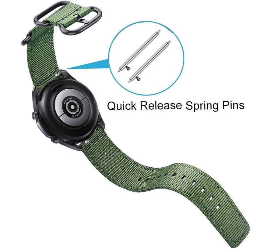Strap-it® Samsung Galaxy Watch 3 - 45mm nylon gesp band (groen)