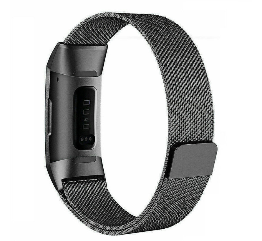 Strap-it® Fitbit Charge 4 Milanese band (zwart)
