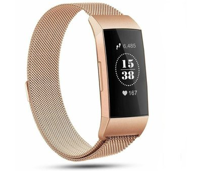 Strap-it® Strap-it® Fitbit Charge 4 Milanese band (rosé goud)