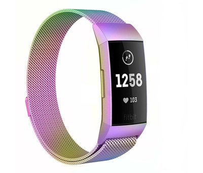 Strap-it® Strap-it® Fitbit Charge 4 Milanese band (regenboog)