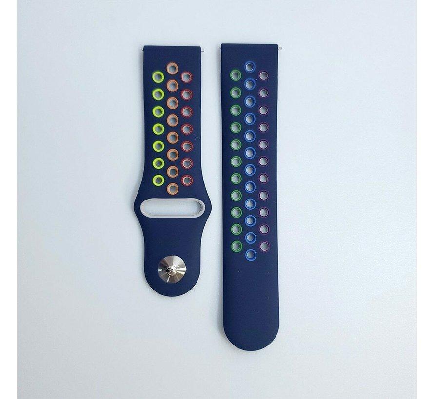 Strap-it® Samsung Galaxy Watch 3 sport band 45mm (donkerblauw/kleurrijk)
