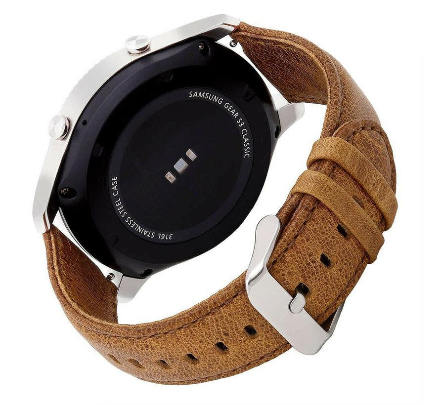 Strap-it® Samsung Galaxy Watch 3 leren bandje 45mm (bruin)