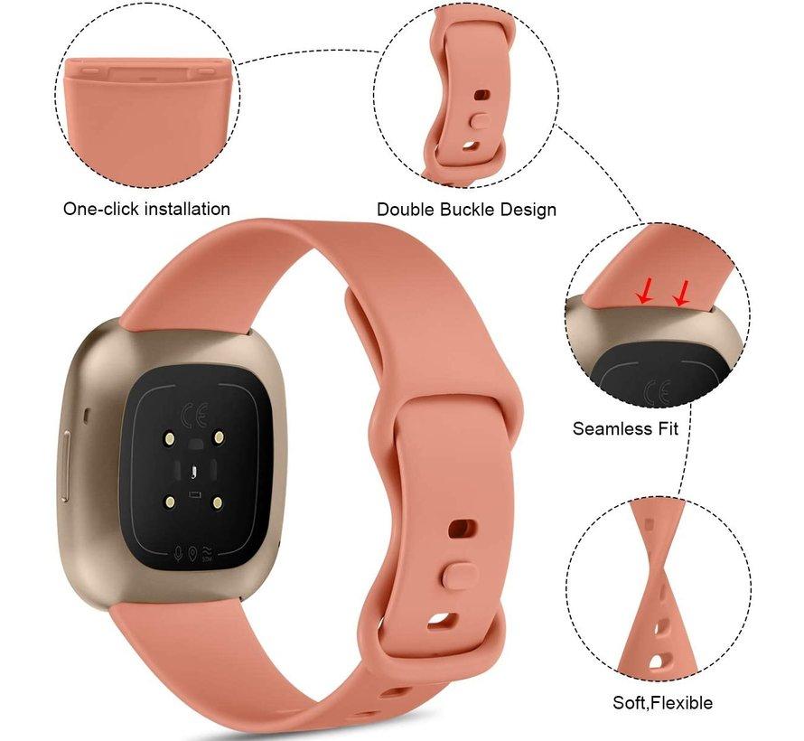 Strap-it® Fitbit Versa 3 siliconen bandje (roze)
