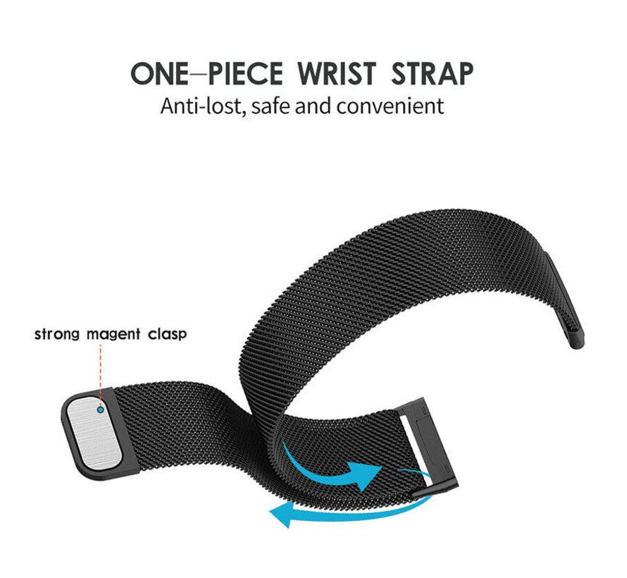 Strap-it® Fitbit Versa 3 Milanese band (zwart)