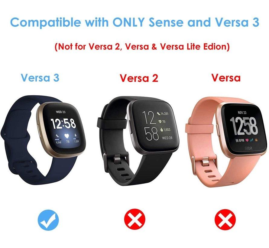 Strap-it® Fitbit Versa 3 leren bandje (zwart)