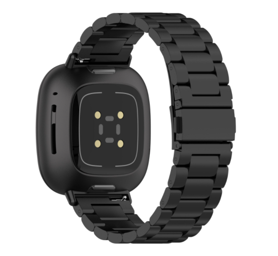 Strap-it® Fitbit Sense stalen band (zwart)