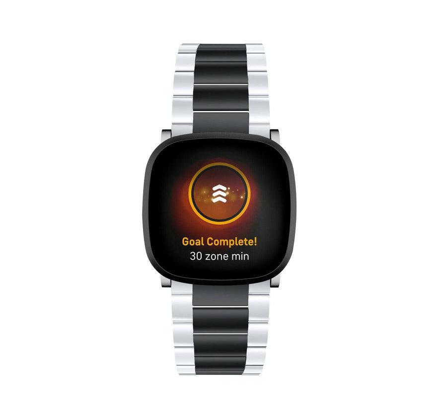 Strap-it® Fitbit Sense stalen band (zilver/zwart)