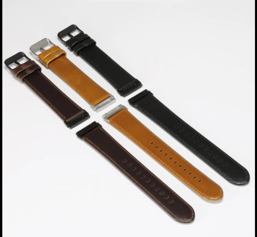 Strap-it® Fitbit Sense leren bandje (bruin)
