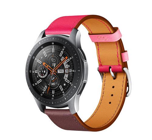 Strap-it® Strap-it® Samsung Galaxy Watch leren band 45mm / 46mm (knalroze/roodbruin)