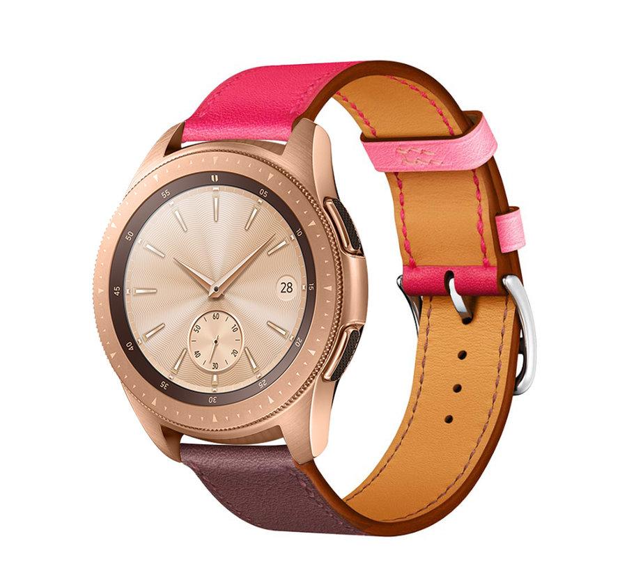 Strap-it® Samsung Galaxy Watch leren band 41mm / 42mm (knalroze/roodbruin)