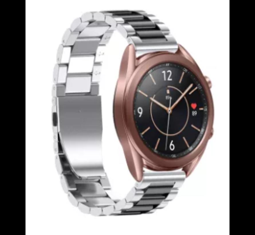 Strap-it® Samsung Galaxy Watch 3 stalen band 41mm (zilver/zwart)