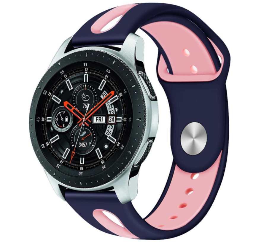 Strap-it® Samsung Galaxy Watch duo sport band 45mm / 46mm (donkerblauw/roze)