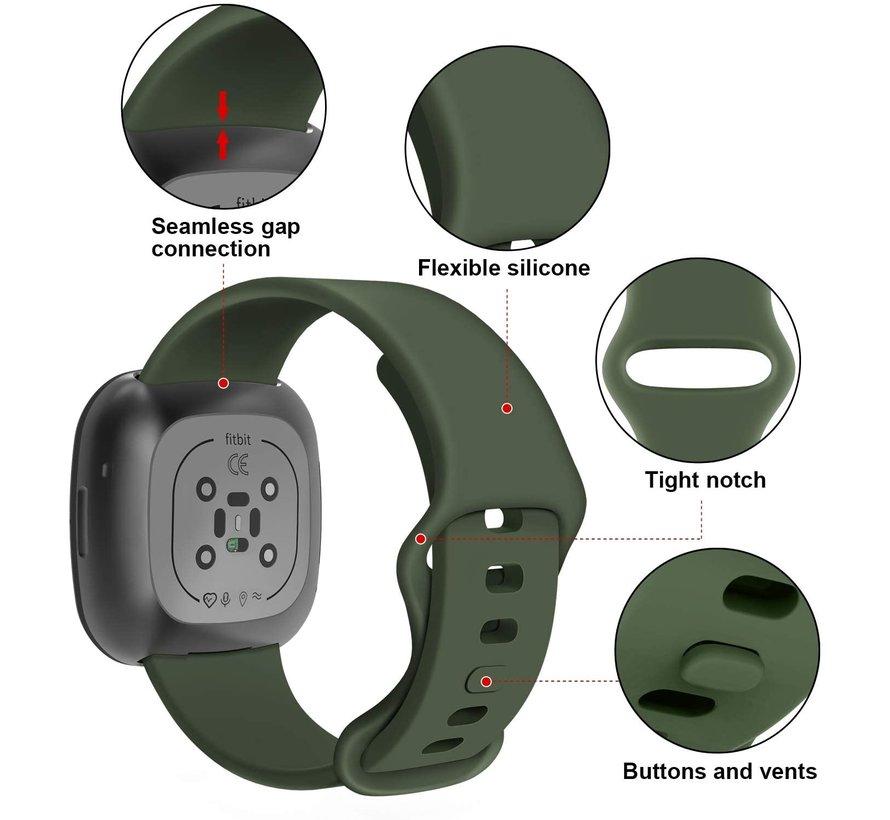 Strap-it® Fitbit Sense siliconen bandje (legergroen)
