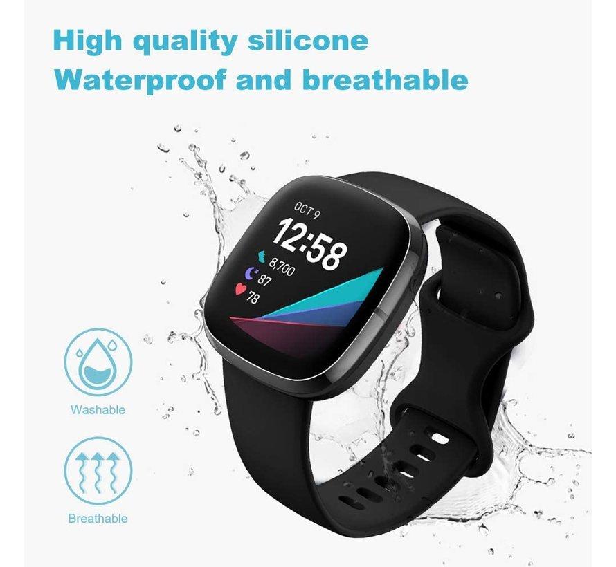 Strap-it® Fitbit Versa 3 siliconen bandje (zwart)
