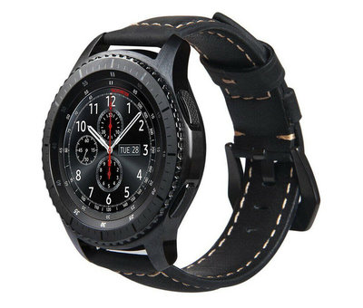 Strap-it® Strap-it® Samsung Galaxy Watch leren band 45mm / 46mm (zwart)