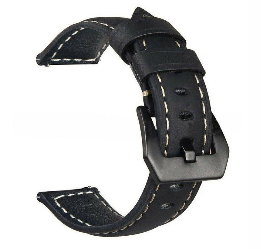 Strap-it® Samsung Galaxy Watch leren band 45mm / 46mm (zwart)