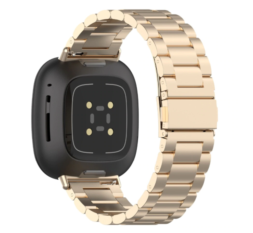 Strap-it® Fitbit Versa 3 stalen band (champagne goud)