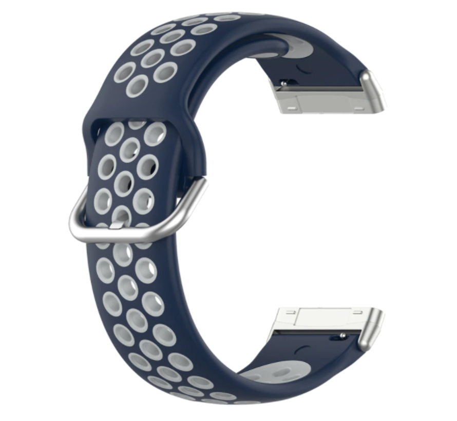 Strap-it® Fitbit Versa 3 sport band (blauw/grijs)