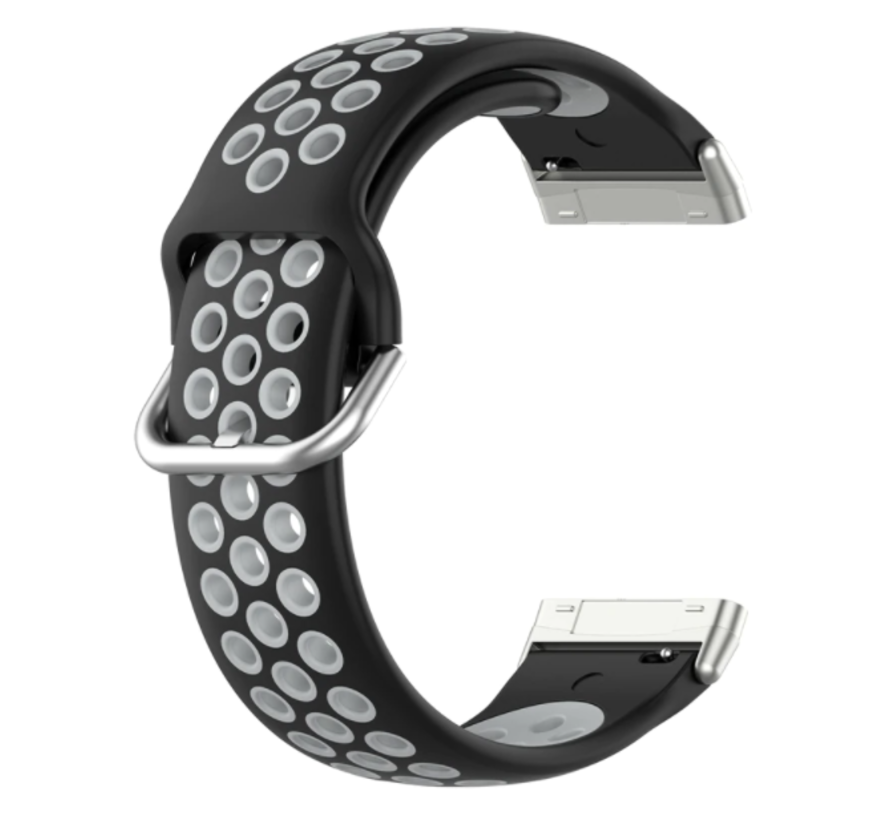 Strap-it® Fitbit Sense sport band (zwart/grijs)