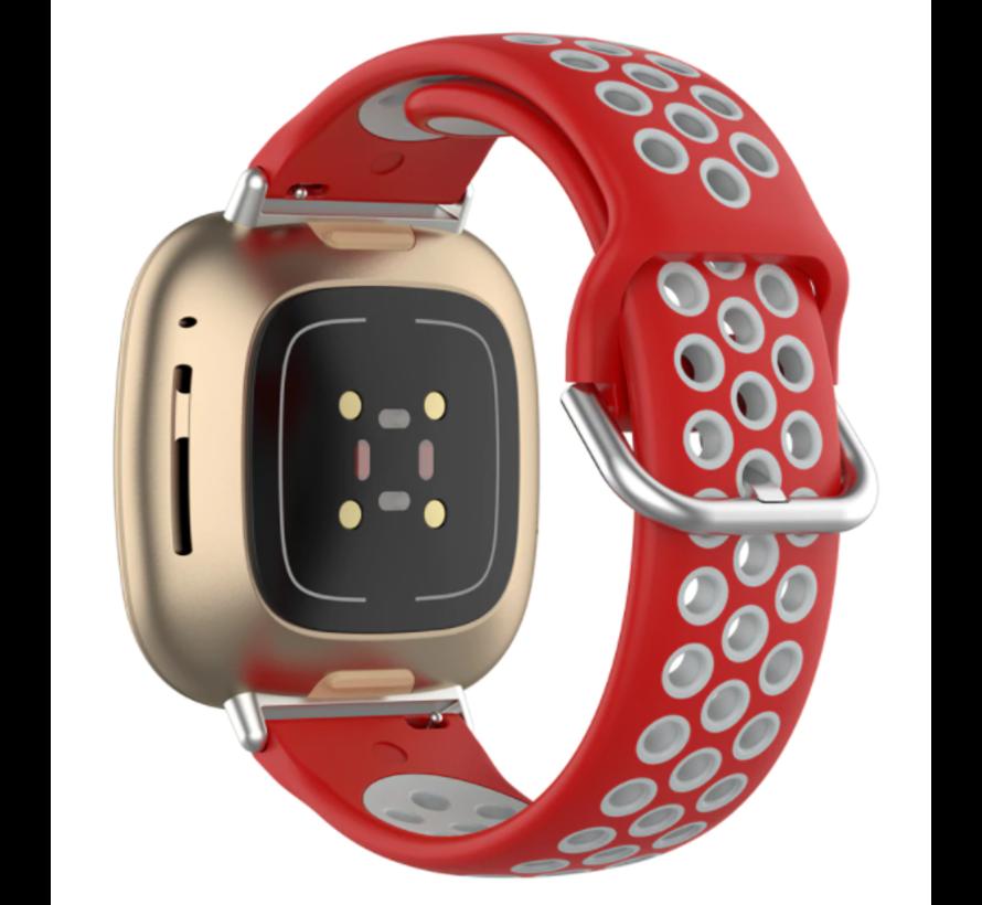 Strap-it® Fitbit Sense sport band (rood/grijs)