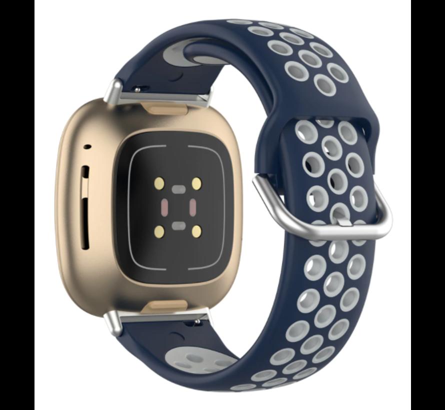 Strap-it® Fitbit Sense sport band (blauw/grijs)