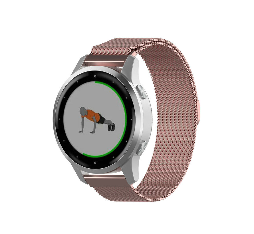 Strap-it® Garmin Vivoactive 4s Milanese band - 40mm - roze