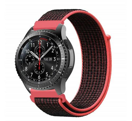 Strap-it® Strap-it® Samsung Galaxy Watch 45mm / 46mm nylon band (zwart/rood)