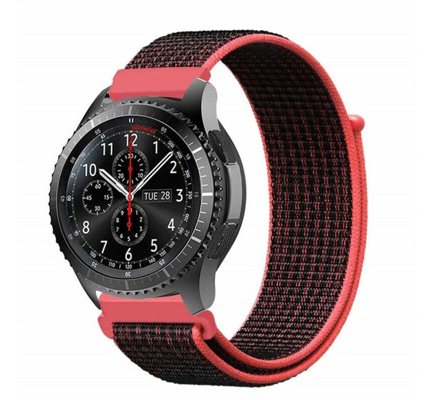 Strap-it® Samsung Galaxy Watch 45mm / 46mm nylon band (zwart/rood)