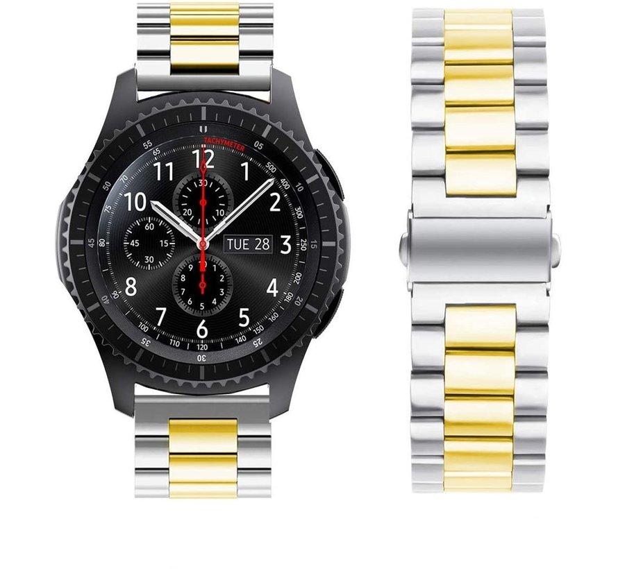 Strap-it® Samsung Galaxy Watch stalen band 45mm / 46mm (zilver/goud)