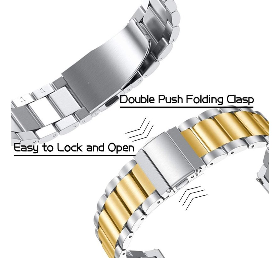 Strap-it® Samsung Galaxy Watch 3 stalen band 41mm (zilver/goud)