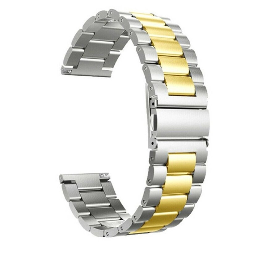 Strap-it® Garmin Vivoactive 4 stalen band - 45mm - zilver/goud