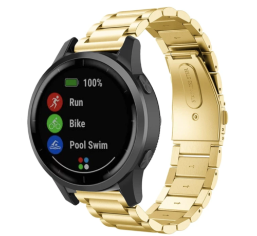 Strap-it® Strap-it® Garmin Vivoactive 4 stalen band - 45mm - goud
