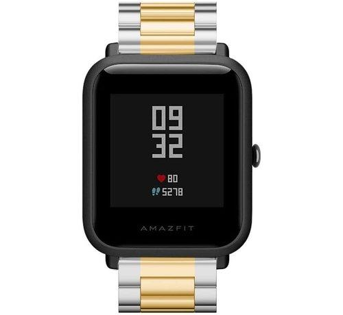 Strap-it® Strap-it® Xiaomi Amazfit Bip stalen band (zilver/goud)