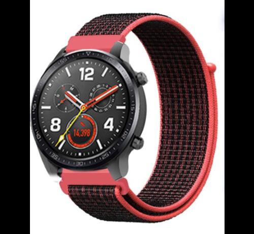 Strap-it® Strap-it® Huawei Watch GT nylon band (zwart/rood)