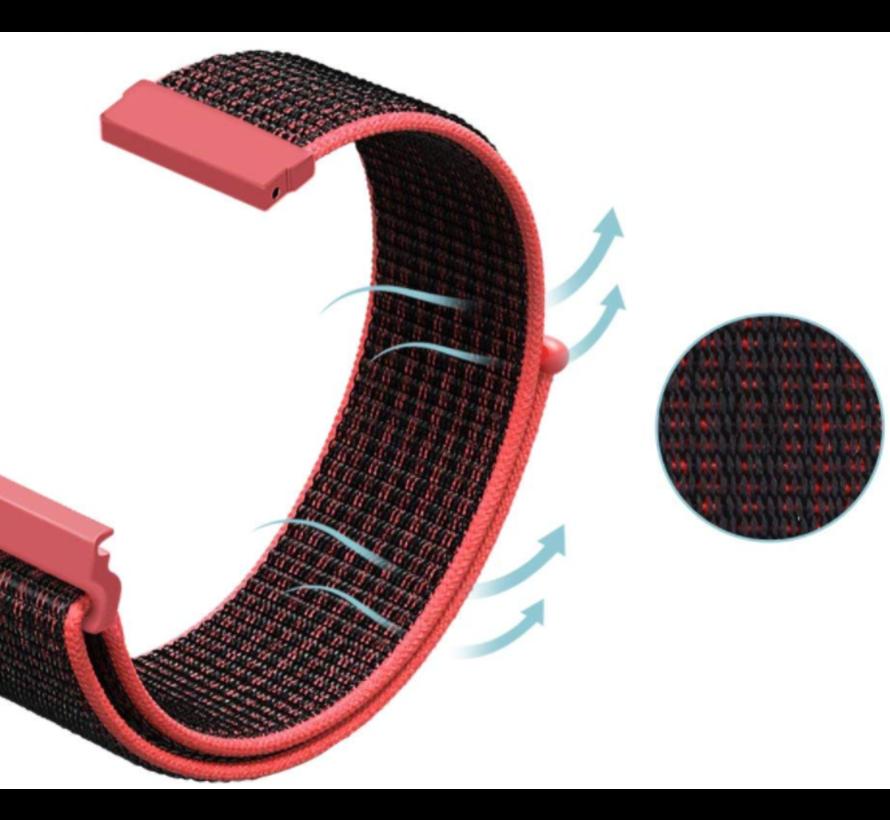 Strap-it® Huawei Watch GT nylon band (zwart/rood)
