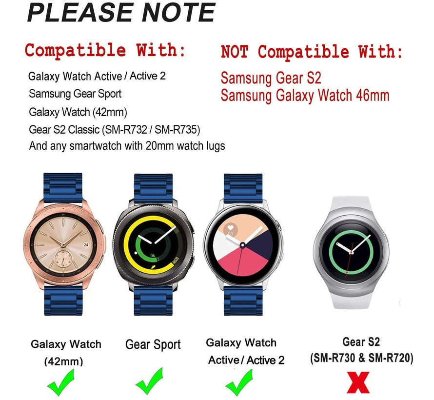 Strap-it® Samsung Galaxy Watch Active metalen bandje (zwart)