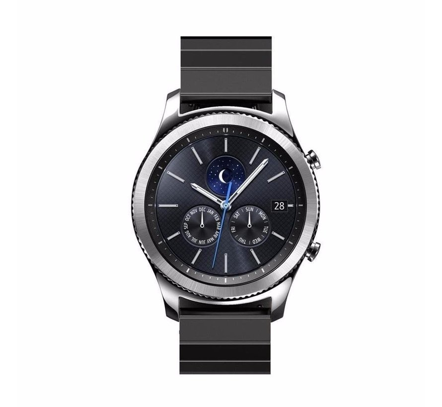 Strap-it® Samsung Gear S3 metalen bandje (zwart)
