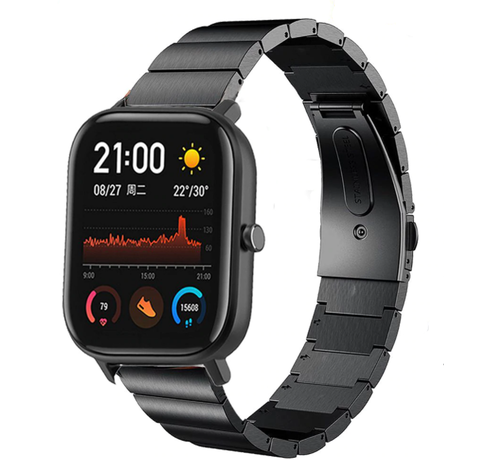 Strap-it® Strap-it® Xiaomi Amazfit GTS metalen bandje (zwart)