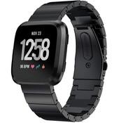 Strap-it® Fitbit Versa metalen bandje (zwart)