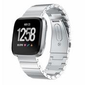 Strap-it® Fitbit Versa metalen bandje (zilver)