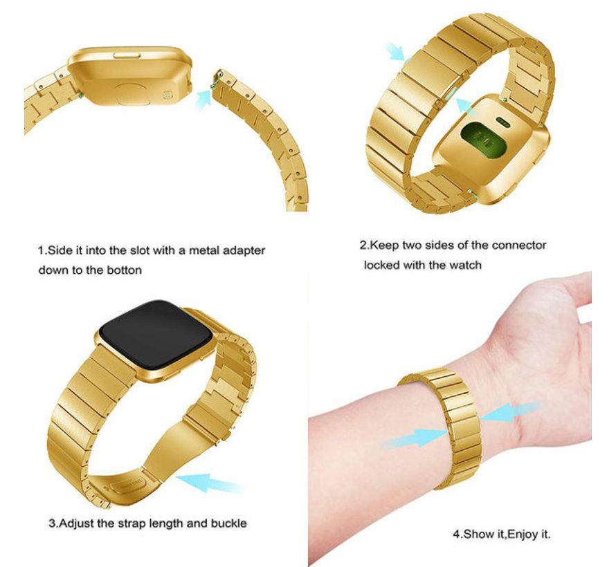 Strap-it® Fitbit Versa metalen bandje (goud)