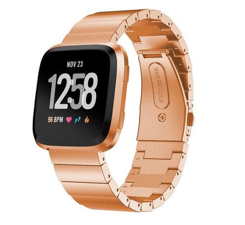 Strap-it® Strap-it® Fitbit Versa metalen bandje (rosé goud)