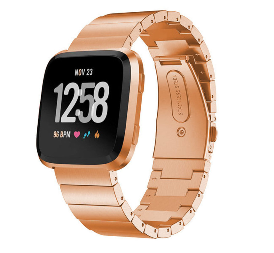 Strap-it® Fitbit Versa metalen bandje (rosé goud)