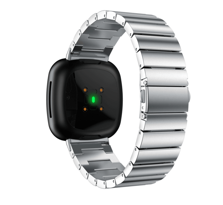 Strap-it® Fitbit Versa 3 metalen bandje (zilver)
