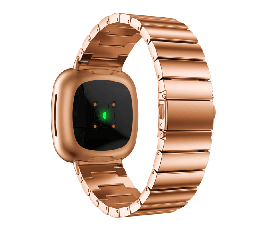 Strap-it® Fitbit Versa 3 metalen bandje (rosé goud)